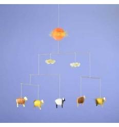 Kraul Baby-Mobile Schäfchen gelb
