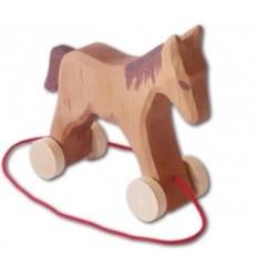 Holz Pferd mit Rädern zum Ziehen