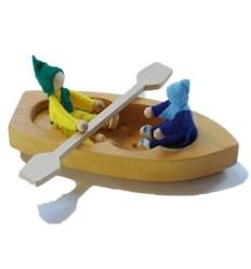 kleines Holz Boot mit Paddel