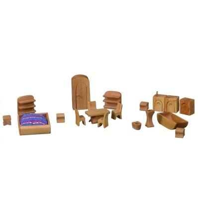 Möbelsatz für Puppenhaus - Möbelset-Öko Spielzeug-Holzspielzeug