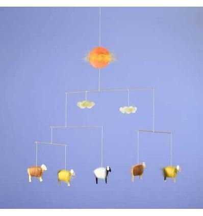Kraul Baby-Mobile Schäfchen gelb-Öko Spielzeug-Naturspielzeug