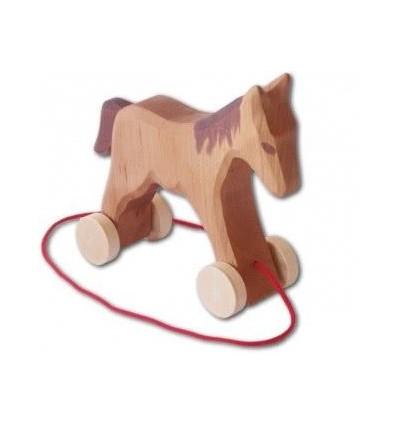 Holz Pferd mit Rädern zum Ziehen-Öko Spielzeug-Naturspielzeug