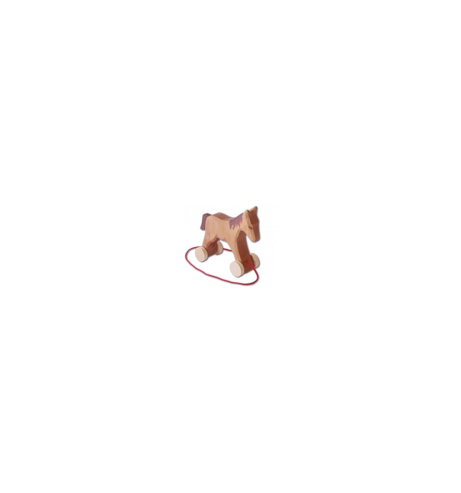 holz pferd mit rädern zum ziehen-decor-spielzeug