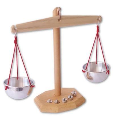 Waage mit Gewichten - Spielwelt Bioladen-Öko Spielzeug-Holzspielzeug