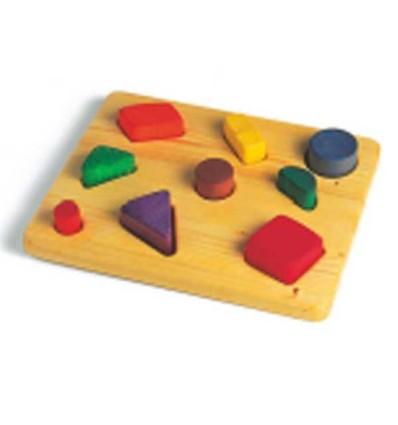 Greifpuzzle Massivholz mit bunten Klötzen-Öko Spielzeug-Holzspielzeug