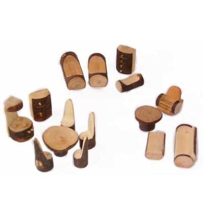 Puppenhaus-Möbel Rindenmöbel Set-Öko Spielzeug-Holzspielzeug