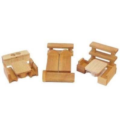 Puppenhaus-Möbel aus Holz: 13tlg. Küche Schlaf- Wohnzimmer-Öko Spielzeug-Holzspielzeug