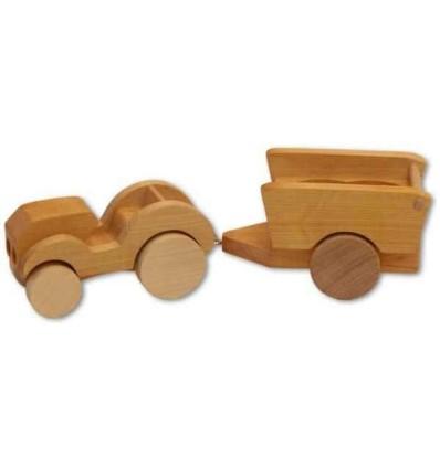 Holzauto Traktor mit Anhänger - Bauernhof-Öko Spielzeug-Naturspielzeug