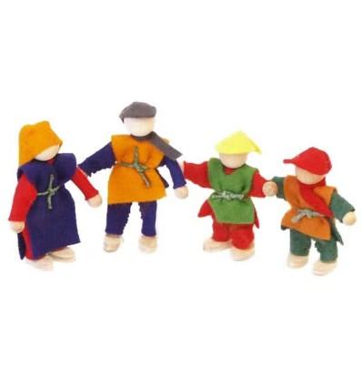 Filzpuppen Familie 4tlg. - Bauernhof-Öko Spielzeug-Holzspielzeug