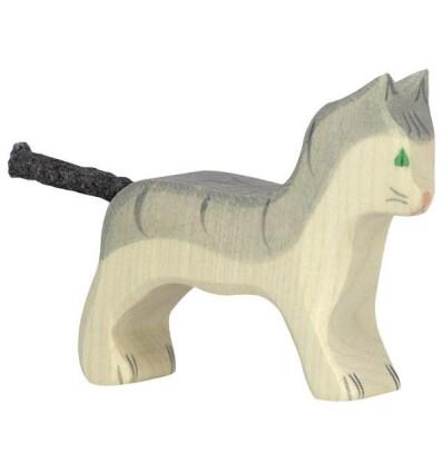 Holztiger Katze  klein  grau
