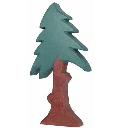 Holztiger Nadelbaum  hoch mit Krone