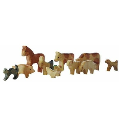 Waldorf Holztiere 11 tlg. - Bio Bauernhof-Öko Spielzeug-Holzspielzeug