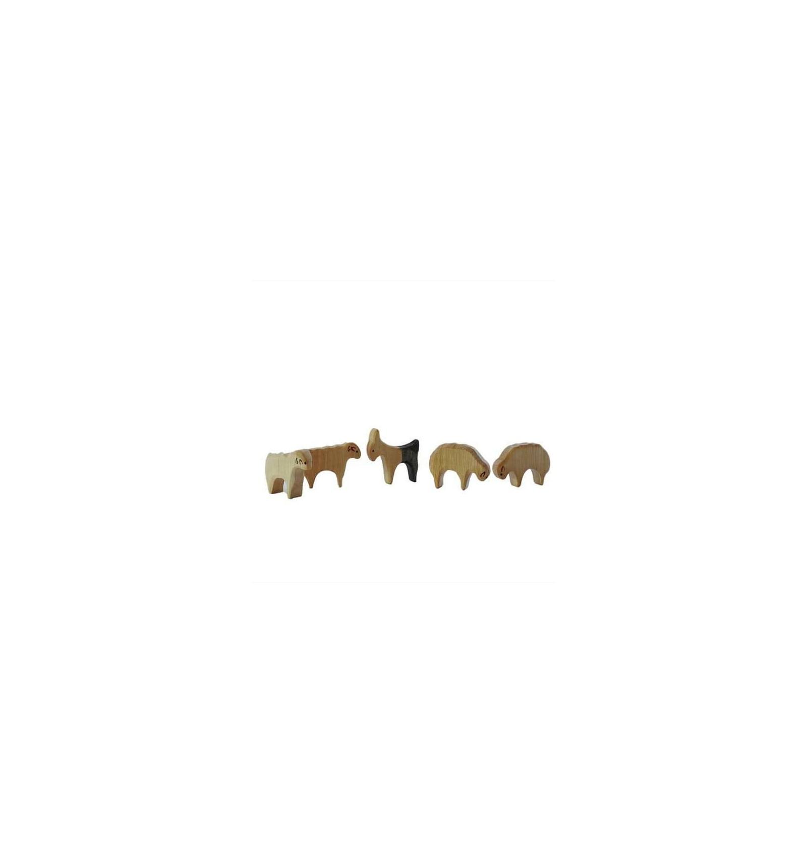 Holztiere 2 Pferde Bio Bauernhof Decor Spielzeug