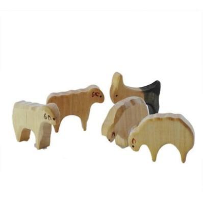 Waldorf Holztiere Schafe - Bio Bauernhof-Öko Spielzeug-Holzspielzeug
