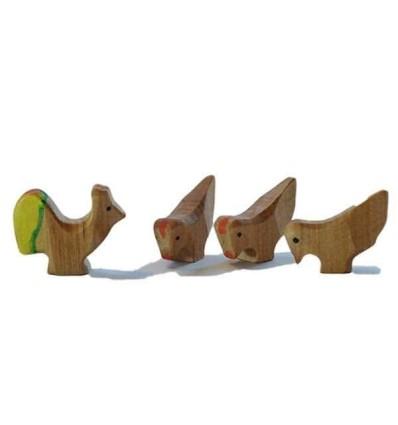 Waldorf Holztiere Hühner - Bio Bauernhof-Öko Spielzeug-Holzspielzeug