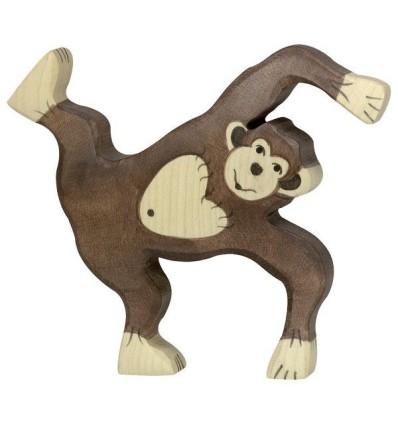 Holztiger Schimpanse  spielend