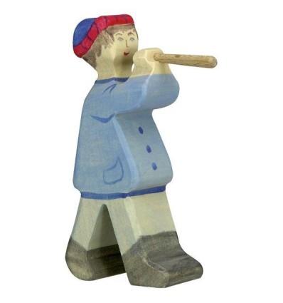 Holztiger Hirte mit Flöte 2