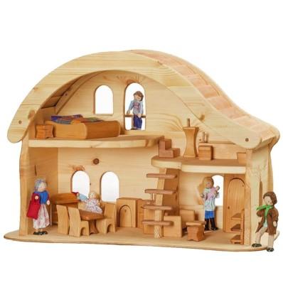 Puppenhaus mit Balkon - Verneuer-Öko Spielzeug-Holzspielzeug