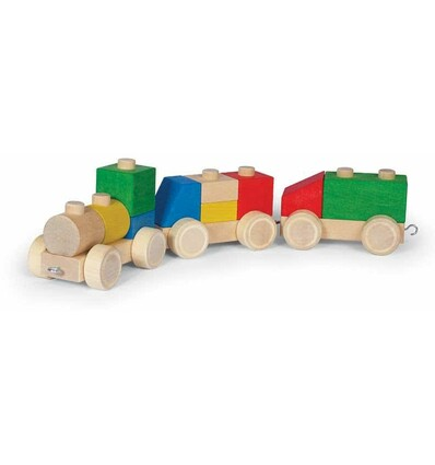 Holz-Zug Eisenbahn groß aus Steckklötzen-Öko Spielzeug-Naturspielzeug