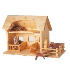Bauernhof - Pferdestall mit Pferdeboxen-Öko Spielzeug-Holzspielzeug