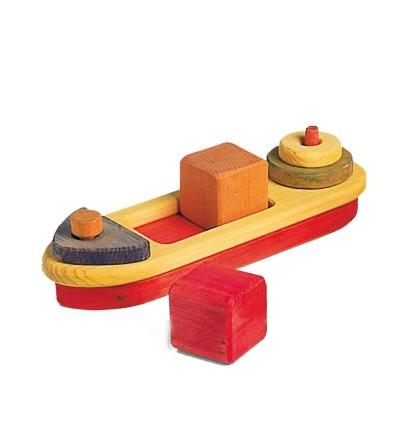 Steckspiel Holzschiff mit bunten Bauklötzen-Öko Spielzeug-Naturspielzeug