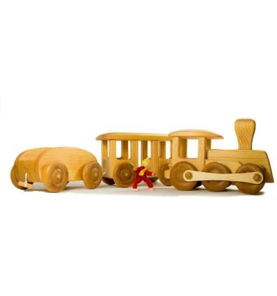 Holz Eisenbahn 3teilig-Öko Spielzeug-Naturspielzeug