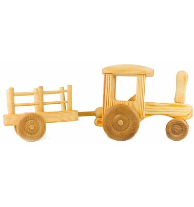 Trecker mit Hänger - Holzauto-Öko Spielzeug-Naturspielzeug