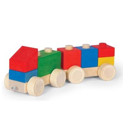 Holz-Zug Eisenbahn klein aus Steckklötzen-Öko Spielzeug-Naturspielzeug