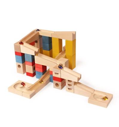 Kugelbahn XL Set 68 Teile-Öko Spielzeug-Holzspielzeug