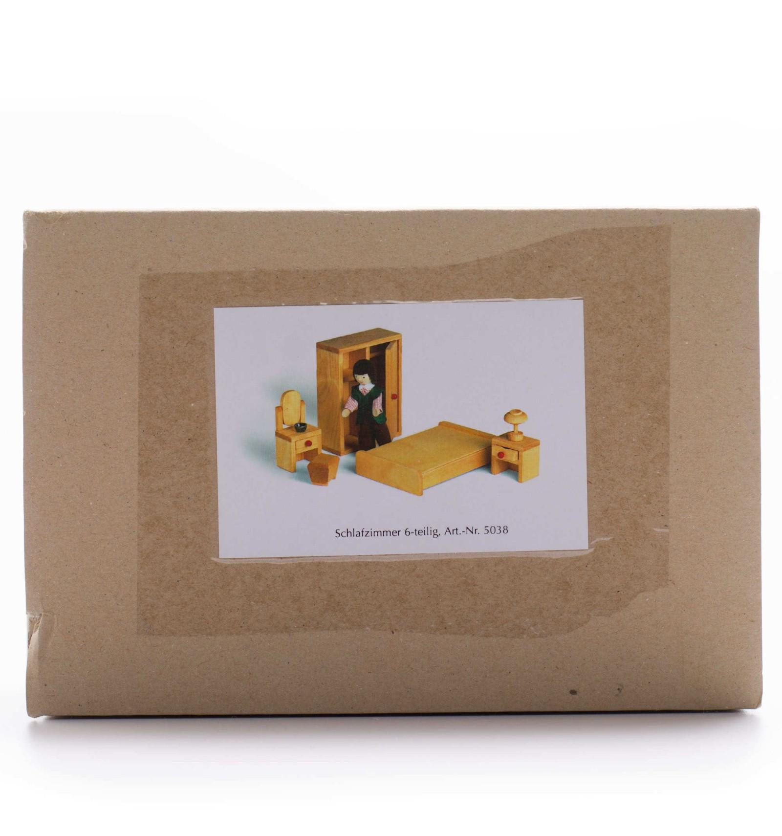 Puppenhaus Schlafzimmer - Holzmöbel aus massivem, geöltem Ho